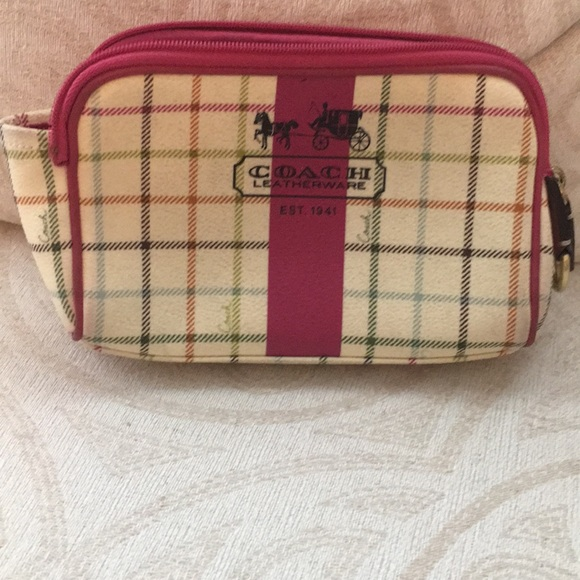 5e564411b8f8 Coach legacy stripe small cosmetic bag